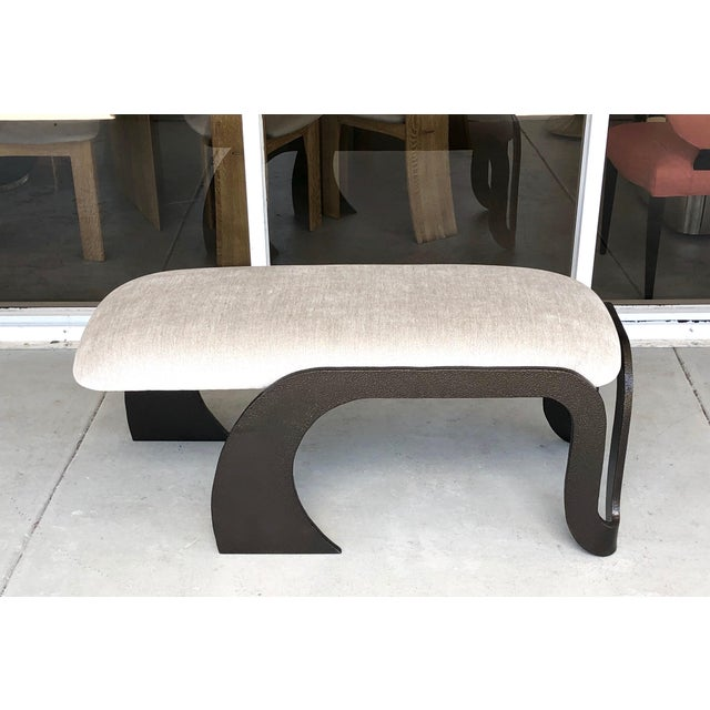 1980s Pair of Abstract Modern Heavy Bronze Enamel Benches Ottomans, 1980s For Sale - Image 5 of 13