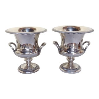 Antique Silver Plated Wine Coolers - Pair For Sale