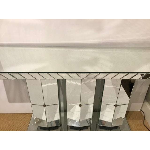 Contemporary Maitland Smith Modern Mirrored Console Table For Sale - Image 3 of 12