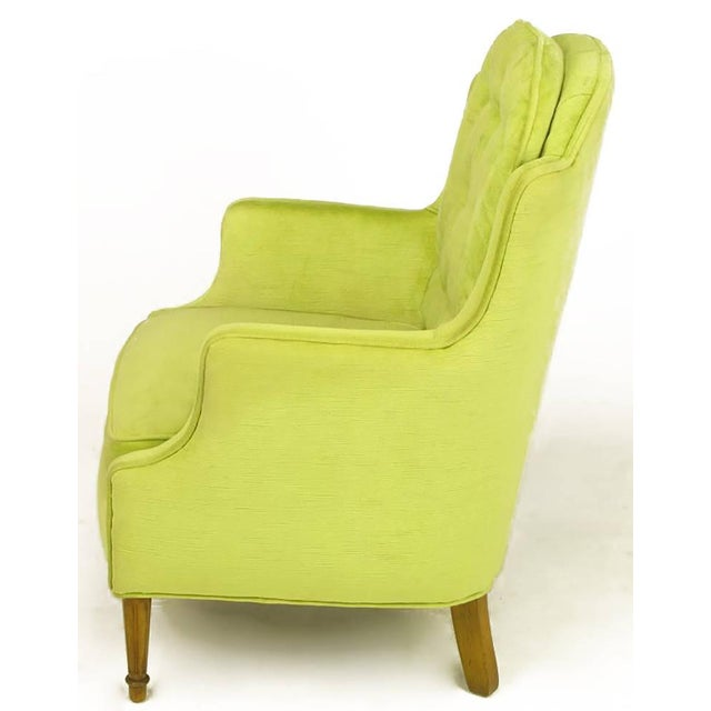 Pair of Chartreuse Yellow-Green Velvet Regency Lounge Chairs - Image 4 of 9