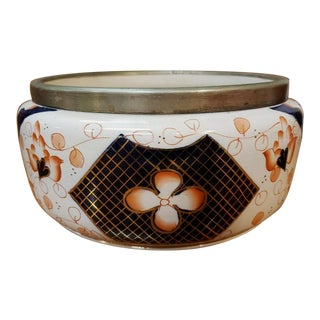 Late 19th Century English Imari Style Porcelain Silver Plated Rim Bowl For Sale