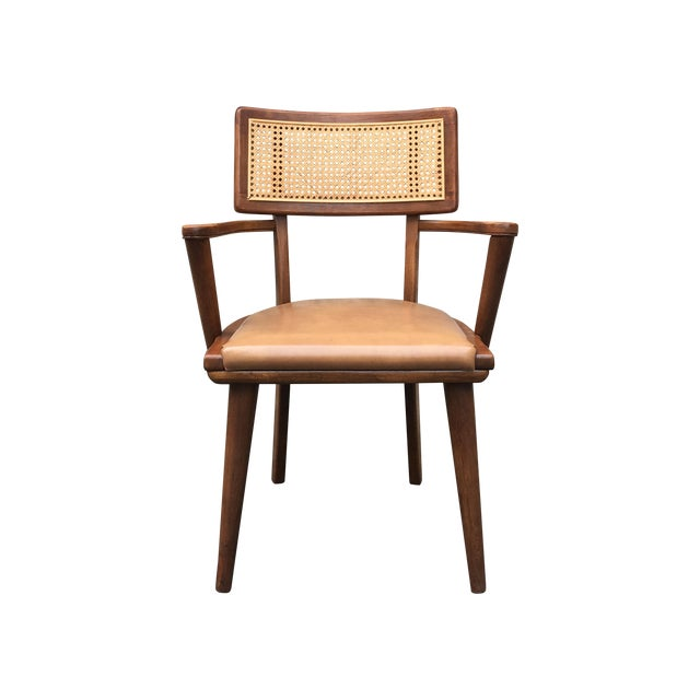 Mid-Century Changebak Cane & Wood Accent Chair - Image 1 of 7