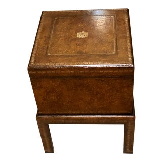 Maitland Smith Leather Box on Stand Table For Sale