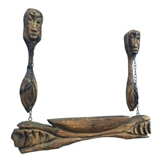 Vintage Mid-Century Carved Tiki Witco Wall Hanging