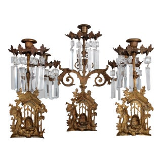 Gilt Brass Honey Bear Crystal Candle Holders - Set of 3