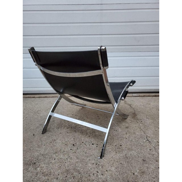 Metal Mid Century Modern Antonio Citterio for Flexform Chrome and Leather Lounge Chair For Sale - Image 7 of 10
