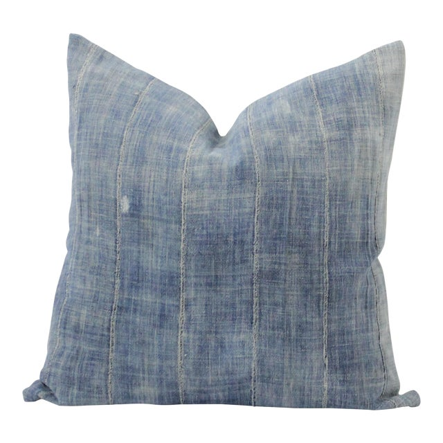 Vintage Blue Distressed Denim Pillow For Sale