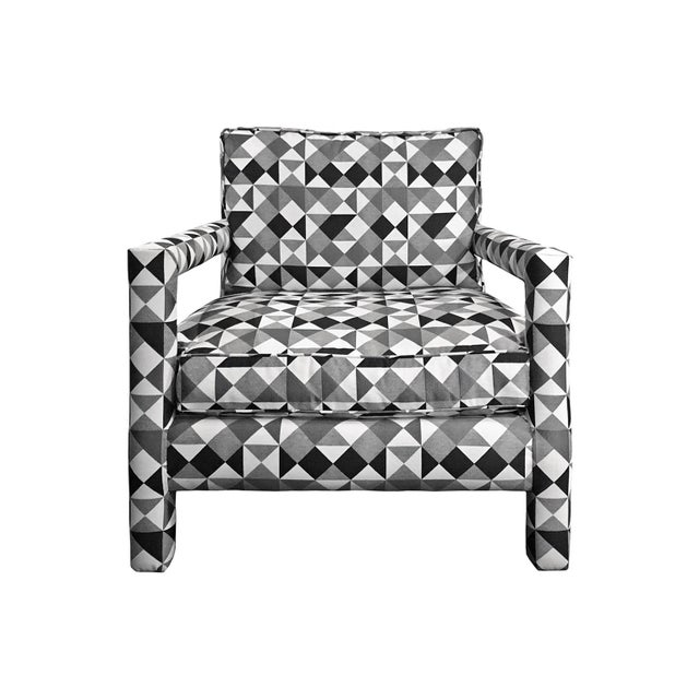 1970s Milo Baughman Style Parsons Lounge Chair in Black, White and Grey Geometric Fabric For Sale - Image 4 of 5
