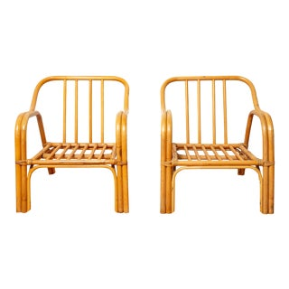 Vintage Mid-Century Bentwood Bamboo Chairs - A Pair