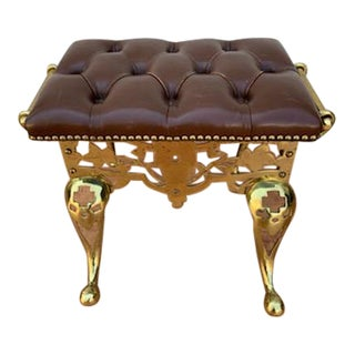 Vintage Brass Base Italian Leather Tufted Foot Stool For Sale