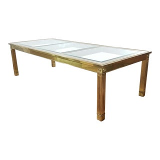 Mid-Century Modern Mastercraft Brass and Beveled Glass Extension Table With Columnar Legs For Sale