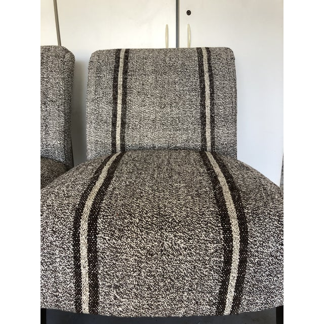 Textile Pair of Upholstered Slipper Chairs For Sale - Image 7 of 9