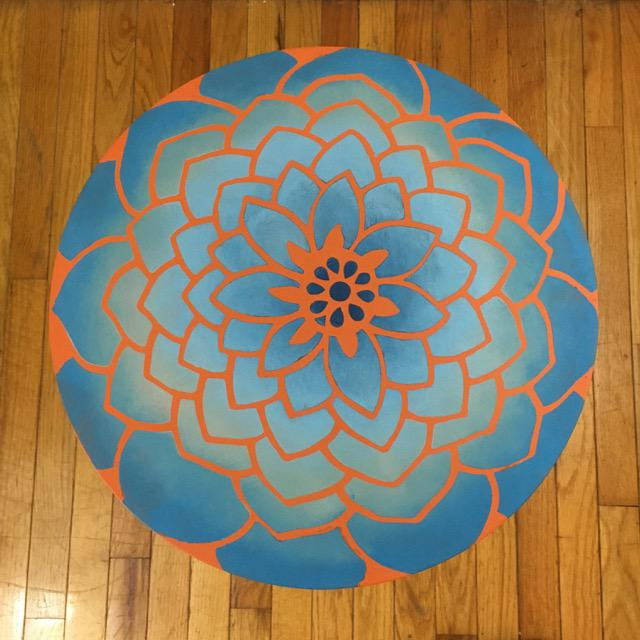 Boho Chic 20th Century Boho Chic Hand Painted Flower Side Table For Sale - Image 3 of 6