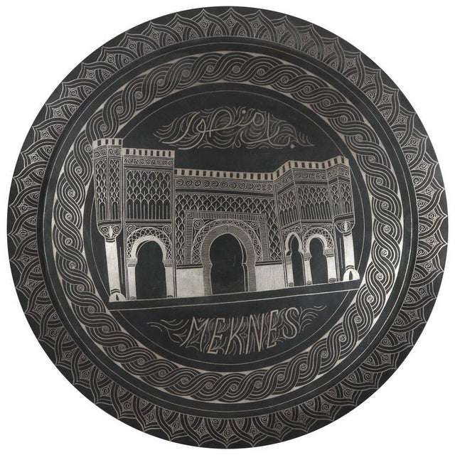 Moroccan Hanging Black Metal Tray From Meknes For Sale - Image 9 of 9