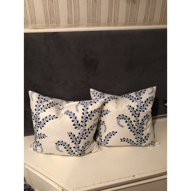 """Pretty in Blue"" Pillows - a Pair of Baris Chambray Embroidered by Duralee - Image 6 of 6"