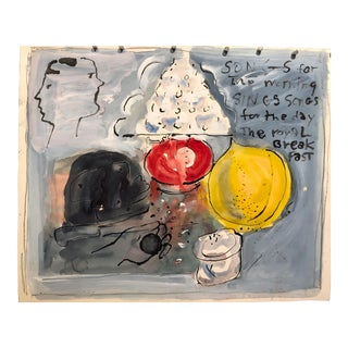 Nyc Artist 1980s Acrylic on Paper Still Life With Text For Sale