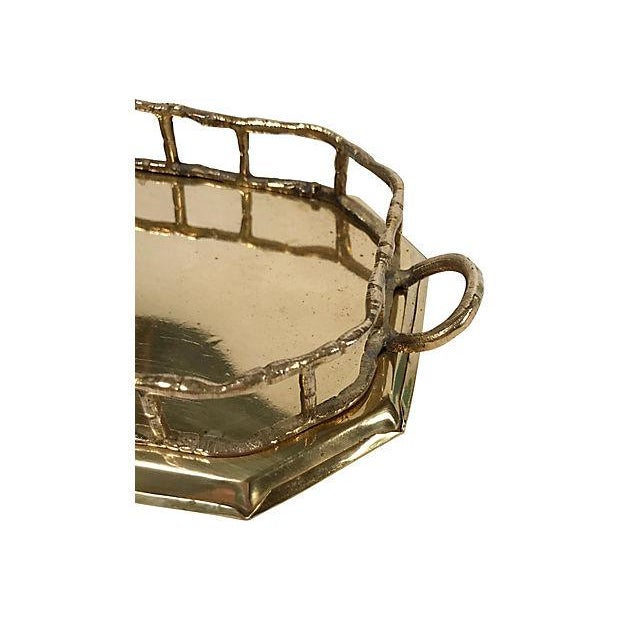 Octagonal Brass Tray with Bamboo Rail For Sale - Image 4 of 5