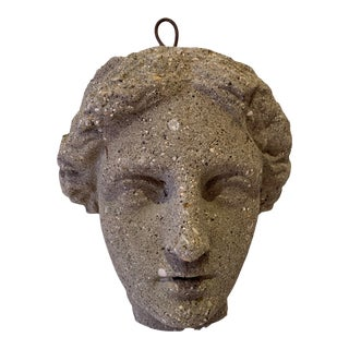 Antique Classical Cast Stone Head of Diana Wall Sculpture For Sale