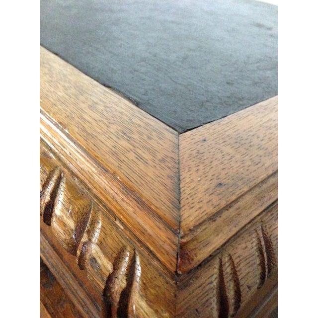 Antique English Tiger Oak Carved Desk - Image 6 of 10