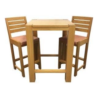 De La Espada Square Bar Table & Two Stools - Set of 3 For Sale