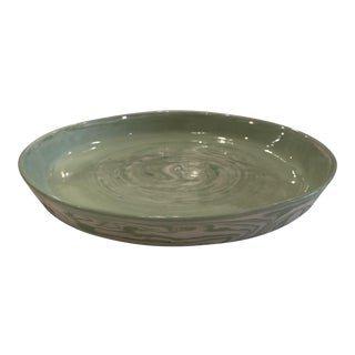 Global Views Round Green Marbled Tray For Sale