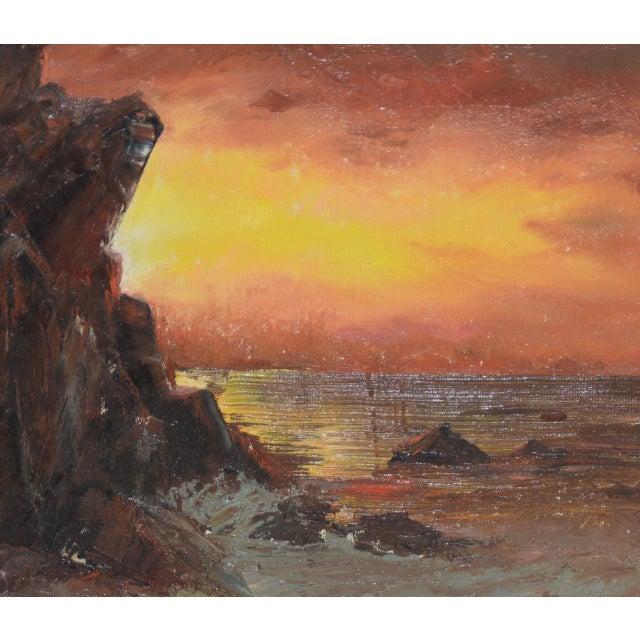 "Irina Roudakoff Belotelkin (January 1, 1913 – January 21, 2009) ""Coastal Sunset"" Oil Painting c.1960s Rare original oil..."