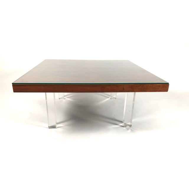1960s 1967 Milo Baughman Rosewood and Lucite Coffee Tables - a Pair For Sale - Image 5 of 10