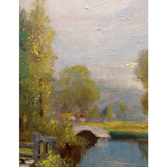 1920s George Thompson Pritchard -Bridge Over a Pond -Impressionist Oil Panting C1920s For Sale - Image 5 of 10