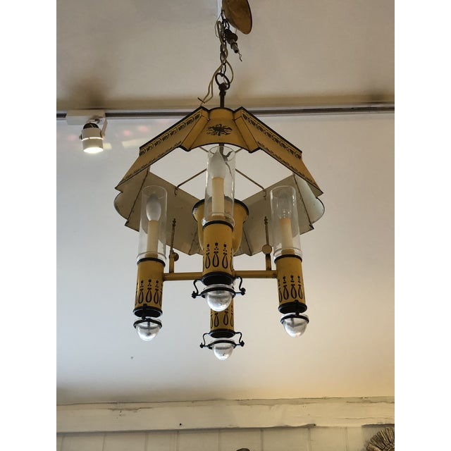 French Iron and Tole Painted 4-Arm Chandelier For Sale - Image 9 of 10