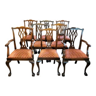 Late 19th Century English Mahogany Chippendale Style Dining Chairs - Set of 8 For Sale