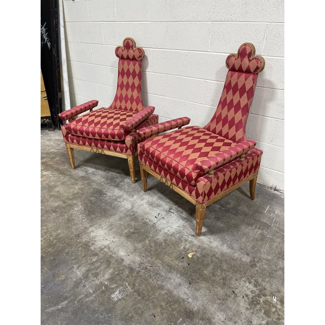 This is a fun pair of whimsical avant garde style accent chairs. Extremely well made. Wood trim frame that appears to be...