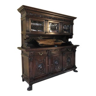 Italian Carved Solid Walnut Sideboard With Hutch For Sale