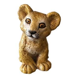 1960s Italian Lion Cub Glazed Terra Cotta Statue For Sale