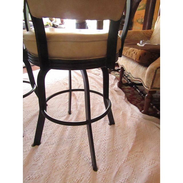 Animal Skin Industrial Style Iron and Pleather Swivel Bar Stools - a Pair For Sale - Image 7 of 8