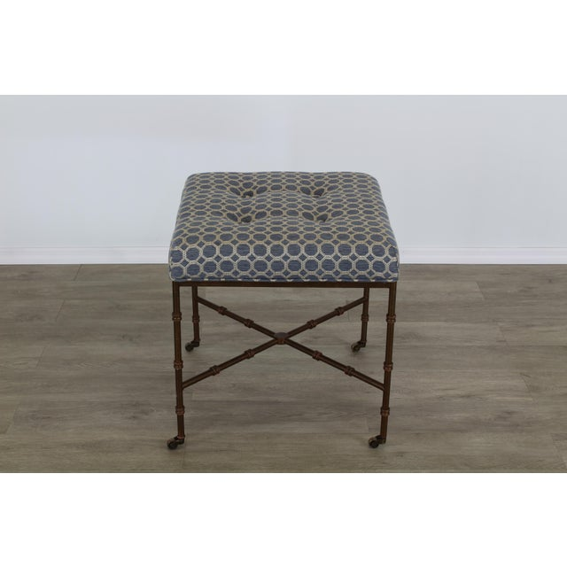 Metal Pair of Mid-Century Metal Benches With Blue Cushions Tops For Sale - Image 7 of 8
