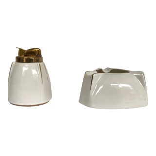 Evans Company 1950s Bone China Ashtray and Lighter - a Pair For Sale