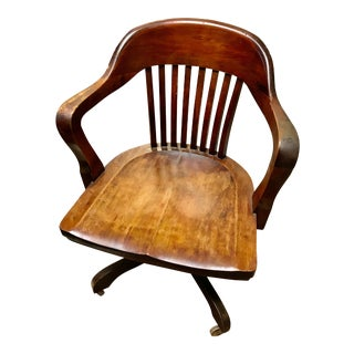 Antique Walnut Banker's Chair For Sale