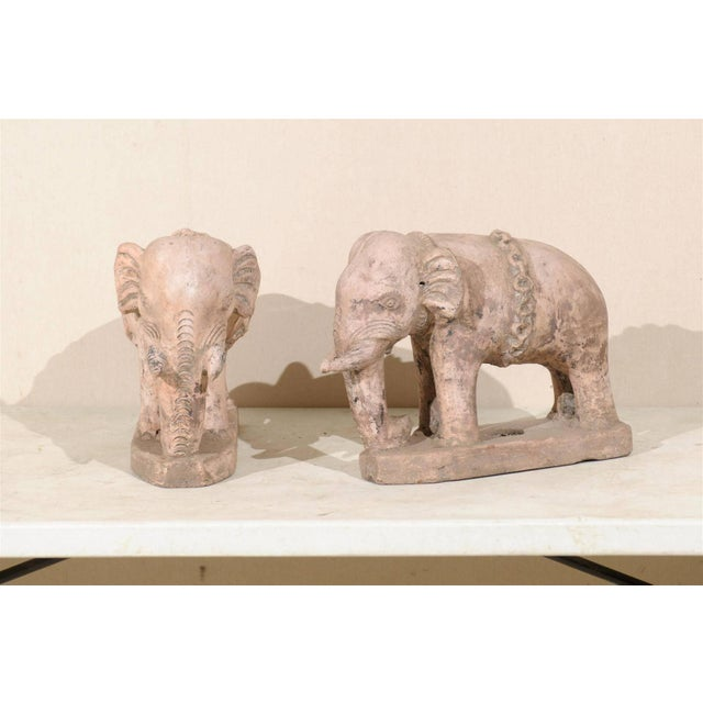 Pair of Eclectic 20th Century British Colonial Terracotta Elephants in Pale Pink For Sale In Atlanta - Image 6 of 9