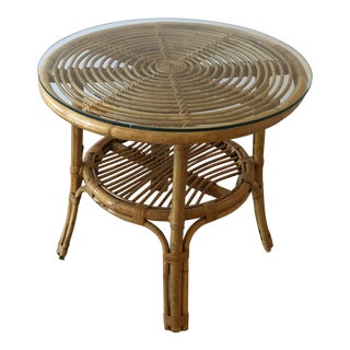 Bamboo Rattan Round Side End For Sale