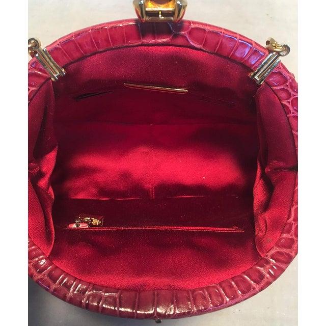 Judith Leiber Small Red Alligator Handbag For Sale In New York - Image 6 of 9