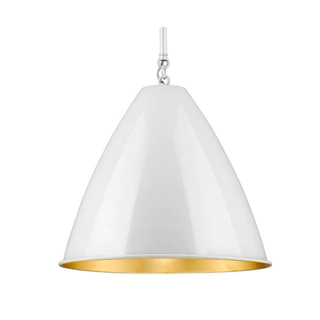 Industrial Lenox 1 Light Rod Pendant, Ceramic White and Gold Leaf For Sale - Image 3 of 5