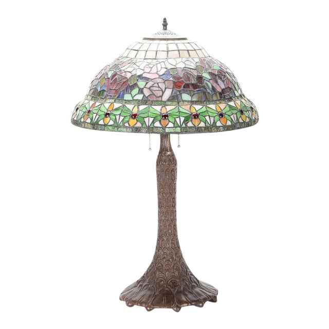 Tiffany stained glass table lamp chairish tiffany stained glass table lamp image 1 of 10 aloadofball Gallery
