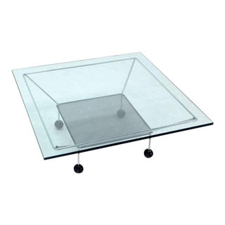 1960s Mid-Century Modern Square Glass-Top Coffee Table on Atomic Legs For Sale