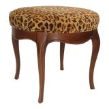 Image of Vintage Italian Leopard Upholstered Vanity Stool For Sale