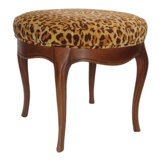 Vintage Italian Leopard Upholstered Vanity Stool For Sale