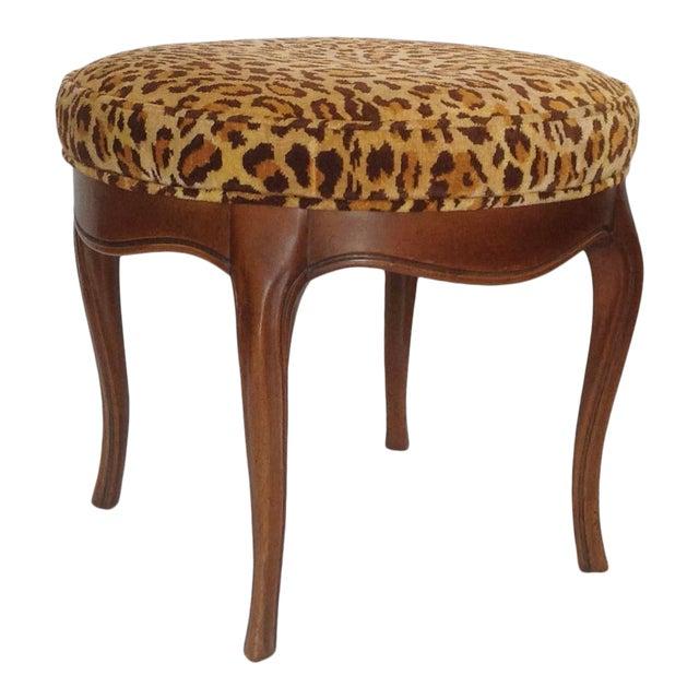 Vintage Italian Leopard Upholstered Vanity Stool For Sale