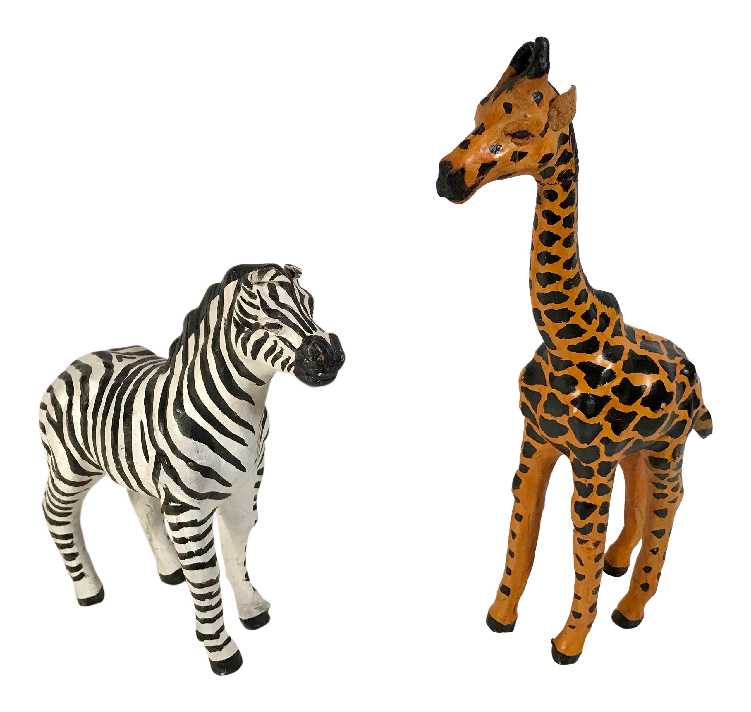 be084c38ad Vintage Paper Mache Giraffe and Zebra Figurines - a Pair