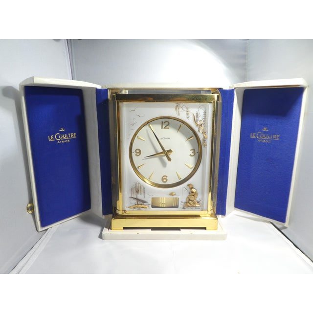 Jaeger Le Coultre Chinoiserie Marina Clock sold as found in vintage condition working.
