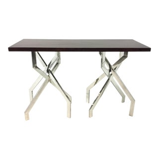 Modern Dark Wood and Chrome Abstract Double Pedestal Console Table For Sale