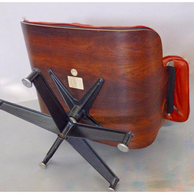 Eames for Herman Miller Rosewood With Red Leather 670 Lounge Chair and Ottoman For Sale - Image 9 of 11